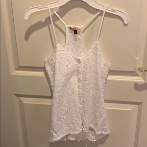 White Razorback Lace Tank Top
